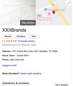 xxiibrands- google my business listing